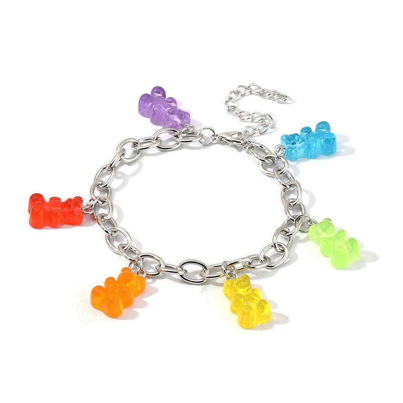 Bonito Gummy Bears Bracelet para Mulheres Sliver Charm Bracelete Bebê Bohemia Boho Jóias Acesorios Presentes Puleras Y Brazaletes Mujer