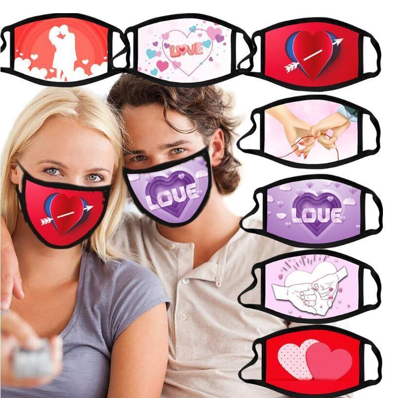 2021 Día de San Valentín Máscara de algodón Polvo a prueba de polvo Máscaras Impresiones 3D Respirator Lavable Reutilizable Insertar PM2.5 Filtro Adultos Diseñador de fiesta Máscaras