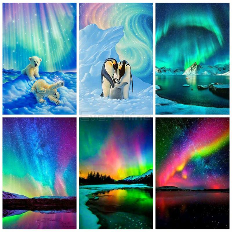 EverShine 5D Diamond Painting Full Square Aurora Diamond Embroidery Landscape Handicraft Art Bead Picture Kits Home Decor