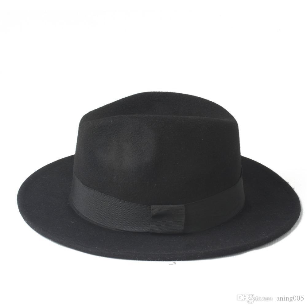 2020 Best 2 Große Größe 100% Wolle Männer Filz Trilby Fedora Hut Für Gentleman Wide Rip Top Cloche Panama Sombrero Cap Größe 56-58, Größe 59-61cm