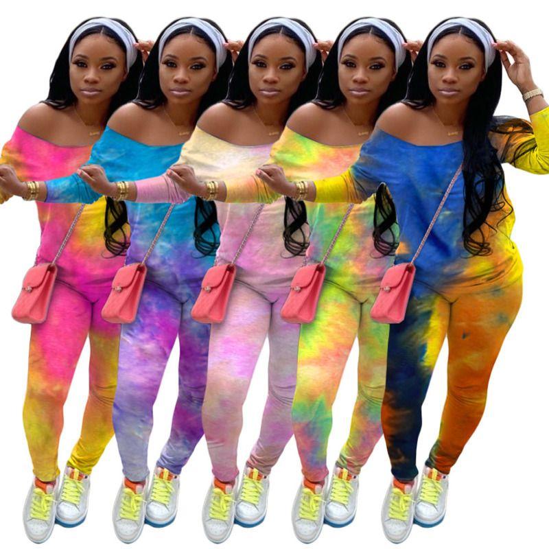 Women Tracksuit Two Piece Set Designer Outfits Fashion Tie Dye Printed Long Sleeve Pants Ladies Plus Size Casual Sportwear