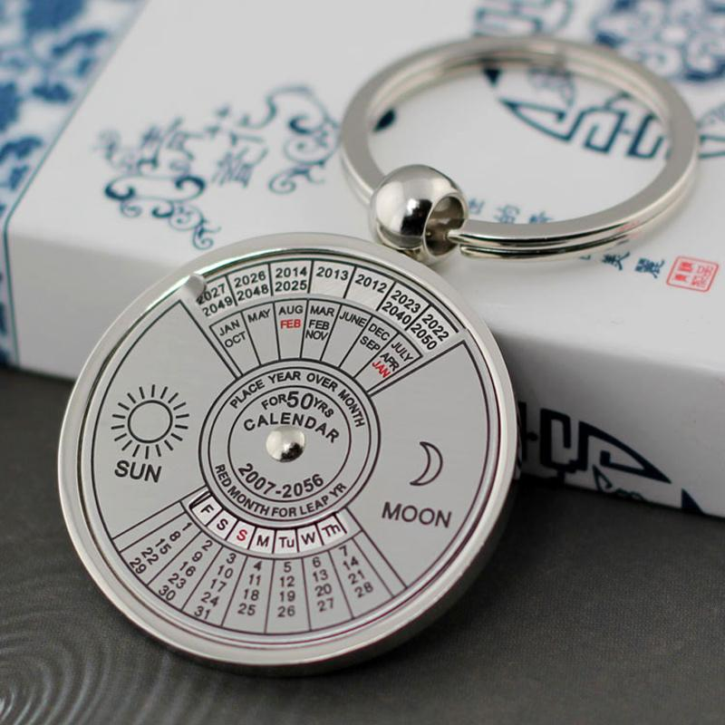 Retro 50 Years Perpetual Calendar Keychain Sun Moon Compass Keyring Valentine's Day Couple Gift Metal Key Chain Pendant