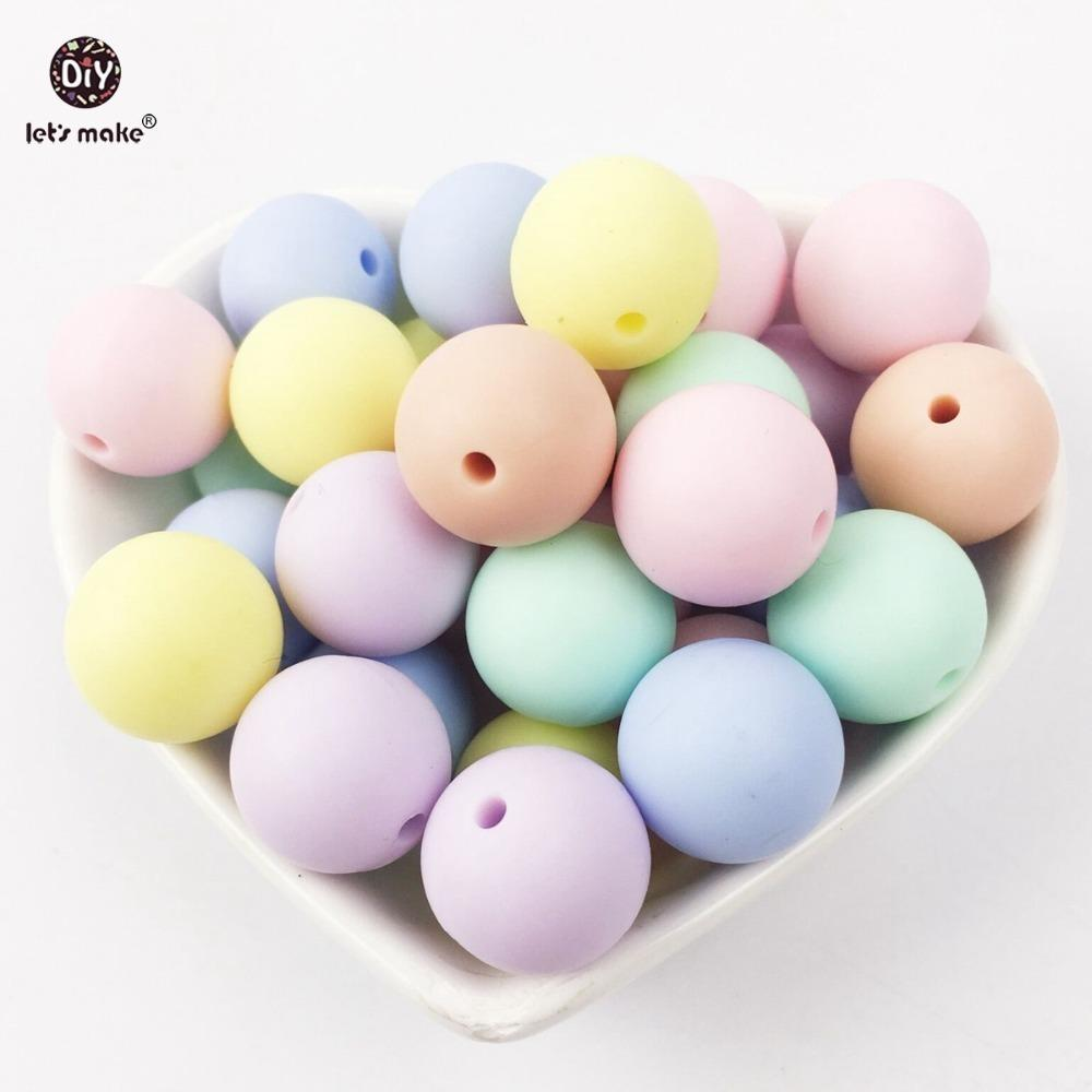 Let's make baby teether round candy color silicone beads 500PC 12-15mm Nursing Crafts Chewable Toys beads silicone teether 201123