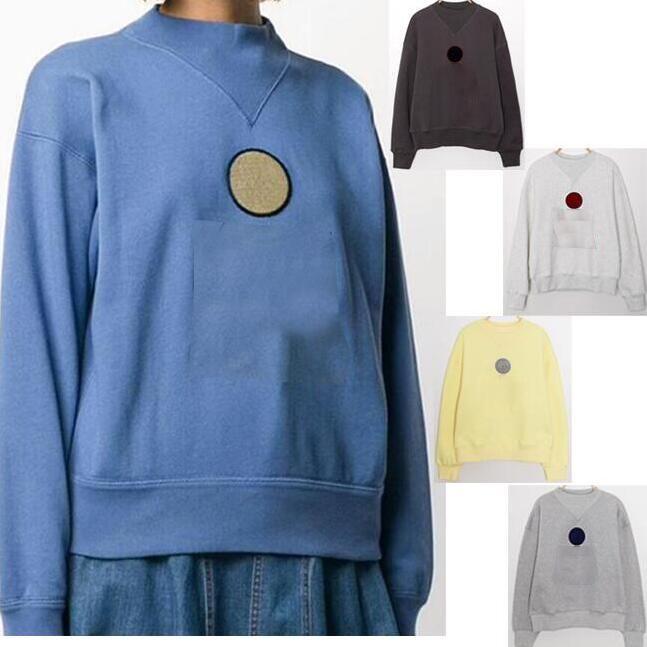 Mujeres 20ISA MAR Sudadera Micro-High Cuello con suéter de peluche Bordado de bordado Logotipo Imprimir otoño otoño 5Color