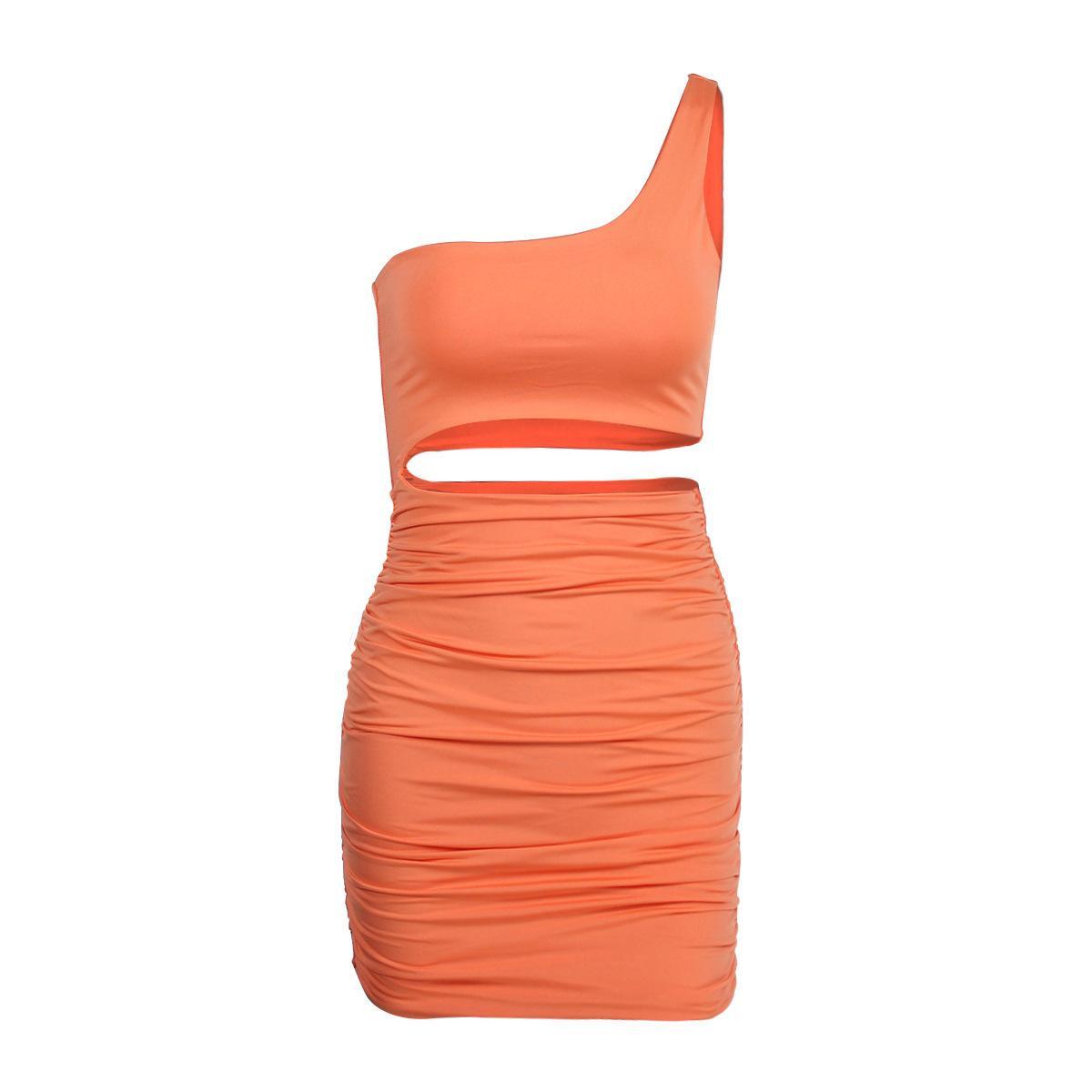 Женская мода Dresssingle плеча сексуальный ночной клуб мешок бедра платье цвета 5 ярдов3blpdd