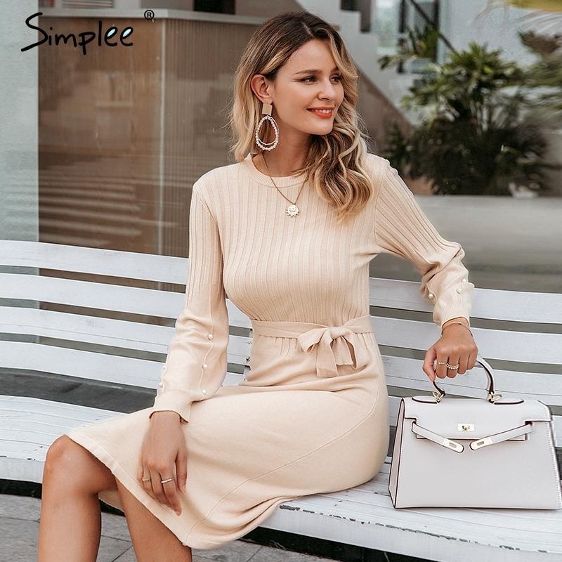 Simplee Elegant Sash пояса женщины свитер платье о-шеи жемчужный фонарик рукав женское трикотажное платье осень зимние джемпер розовое платье 201110