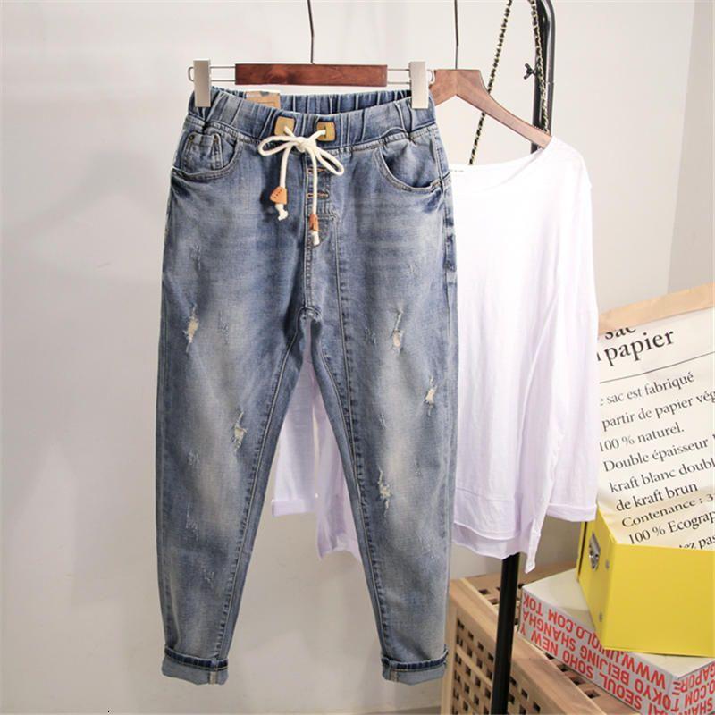 Grande taille Denim Pantalon large jambe Printemps Automne Boyfriend femme pour tous les Streetwear taille haute maman Jeans Q1679