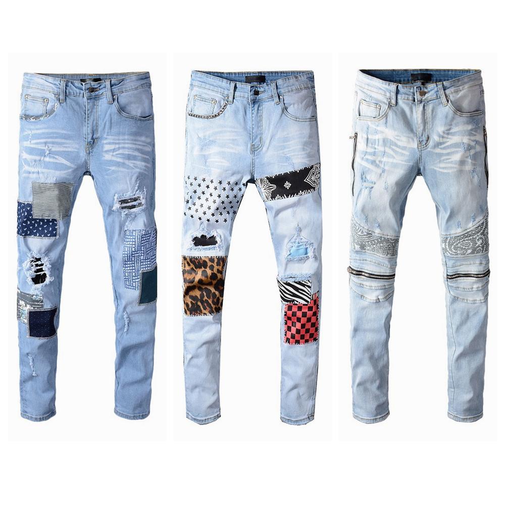 Top Quality Mens Afligido Rasgado Biker Jeans Slim Fit Motocicleta Motocicleta Denim Para Homens Moda Hip Hop Homens Jeans Cool