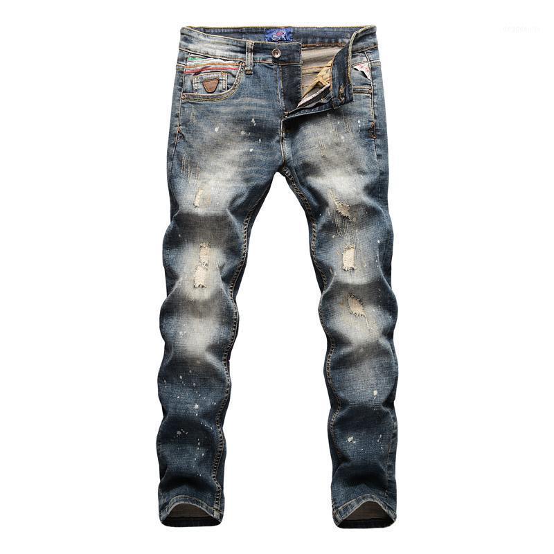 Совершенно новый регулярный минималистский стиль джинсовые комбинезоны средних талистичков тонкий тонкий прибор разорвал проблемные растягивающие джинсы штанты1