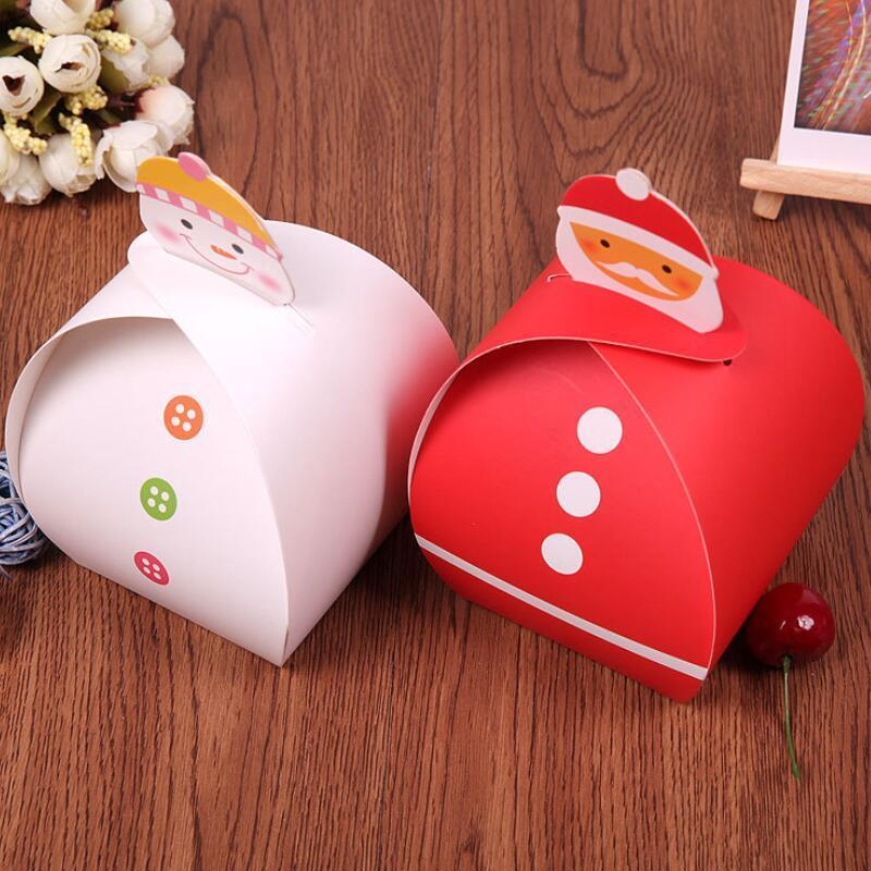 10 pz / lotto Natale Santa Snowman Shape Paper Casella Caselle Bambini Bambini Compleanno Natale regalo confezione scatole di imballaggio grande