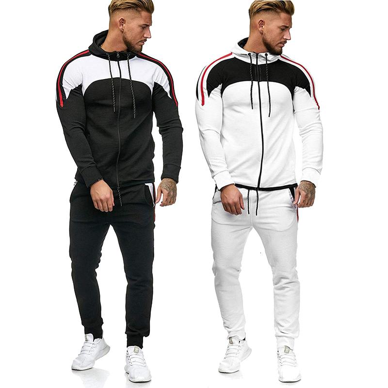 Homme Sweats Hoodies Former Former Ensemble Sweat Sweat Sweat Homme Homme Sportsuit 2 Stuks Jogger Outfit Casual Sporting Vêtements 5XL