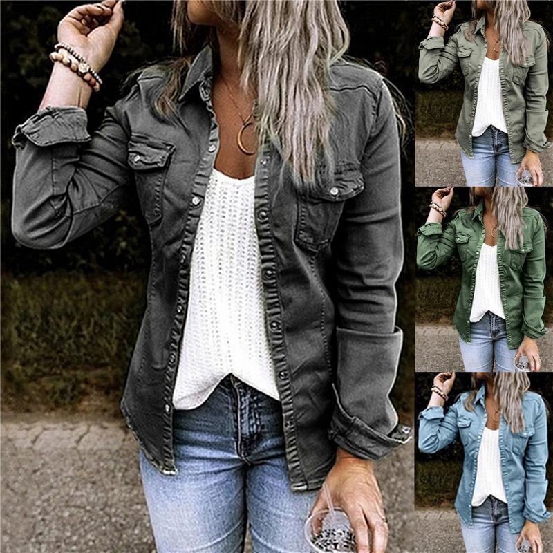 Mode Denim Dünne Mäntel für Frauen Herbstfeder Einzelknopf Oberbekleidung Tops Slim Jeans Jacken Plus Größe XXL