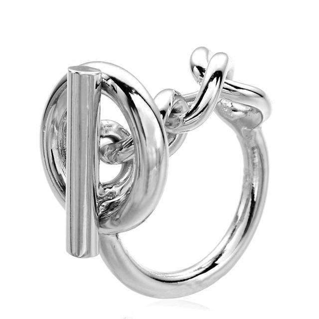 925 anel de cadeia de corda de prata esterlina com bloqueio de aro para mulheres Francês clasp popular anel esterlina de jóias de prata fazendo