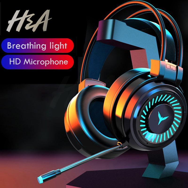 HA Oyun Kulaklıklar Gamer Kulaklıklar Surround Ses Stereo Kablolu Kulaklık USB Mikrofon Renkli Işık PC Laptop Oyun Kulaklık