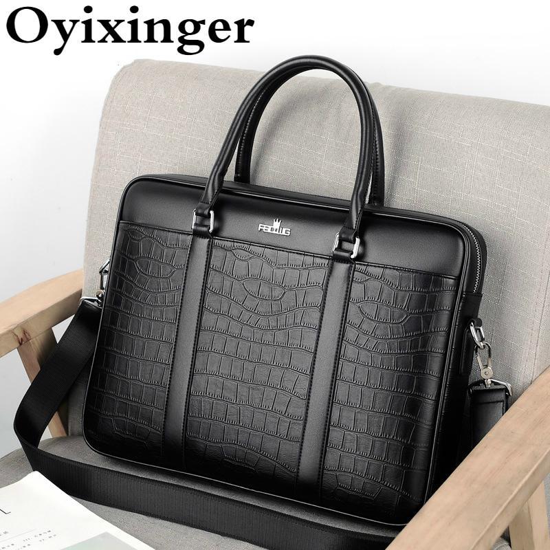 Oyixinger Men's Bag Fashion Business Briefcase Men Crocodile Pattern Leather Handbag For 14inch Laptop Casual Shoulder Bags Q0112
