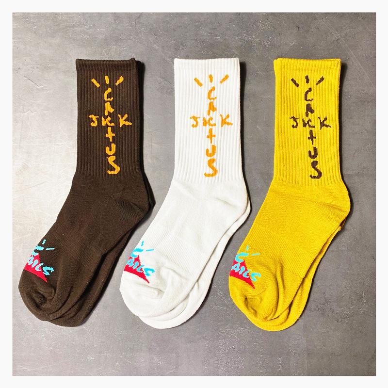 Chaussettes de cactus de mode mensontales Coton Casual respirant avec 4 couleurs Skateboard Hip Hop Chaussette pour homme