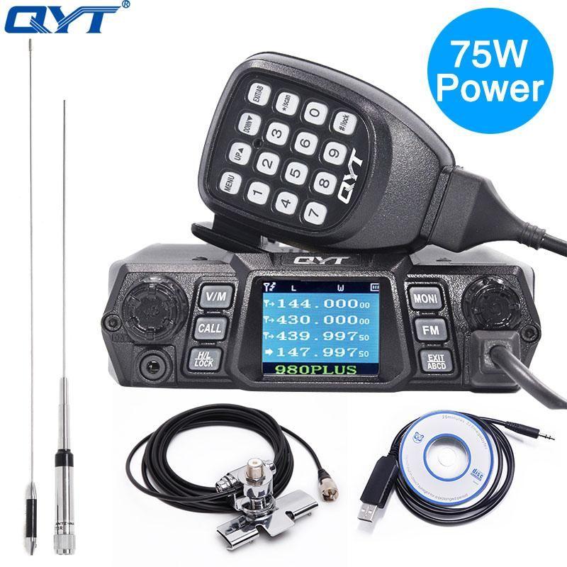 QYT KT-980 PLUS POWER POWER POWER 75W (VHF) / 55W (UHF) Dual Band Quadby Quadby KT-980Plus de voiture mobile Ham CB Radio KT 980plus