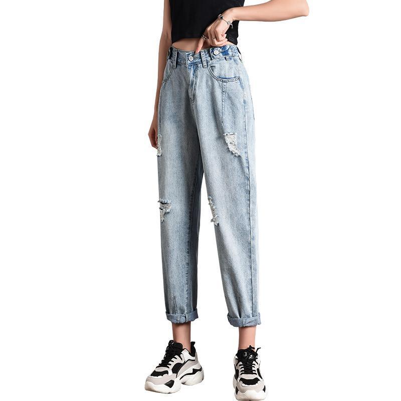 Женские джинсы дыры женщины 2021 летние папа брюки Harlan Net красная высокая талия свободная широкая нога прямая