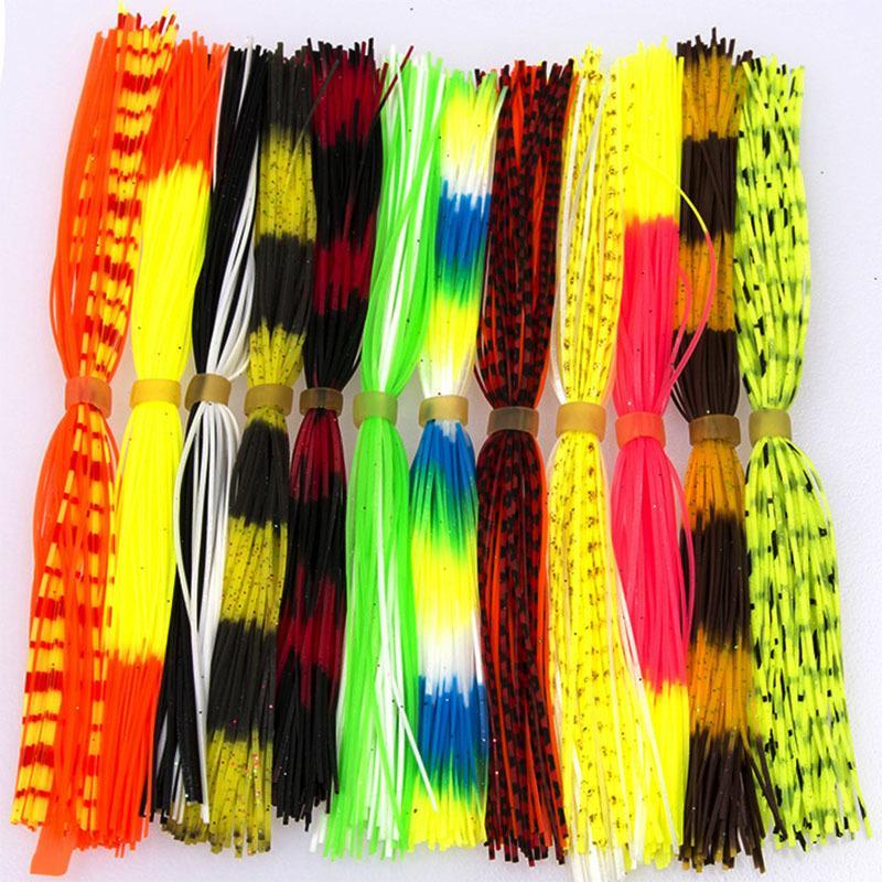 12 paquets / sacs de couleur de silicone de couleur mélangée pour Spinnerbait Buzzbait Caoutchoule Sperme Squid jupes à lier à voler Matériau Q0104