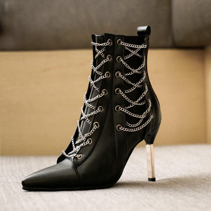 Aiweiyi mode femme cheville bottines hauts talons hauts chaussures argent chaussures femme plate-forme pompes dentelle bottes courtes chaussures femmes chaussures femmes