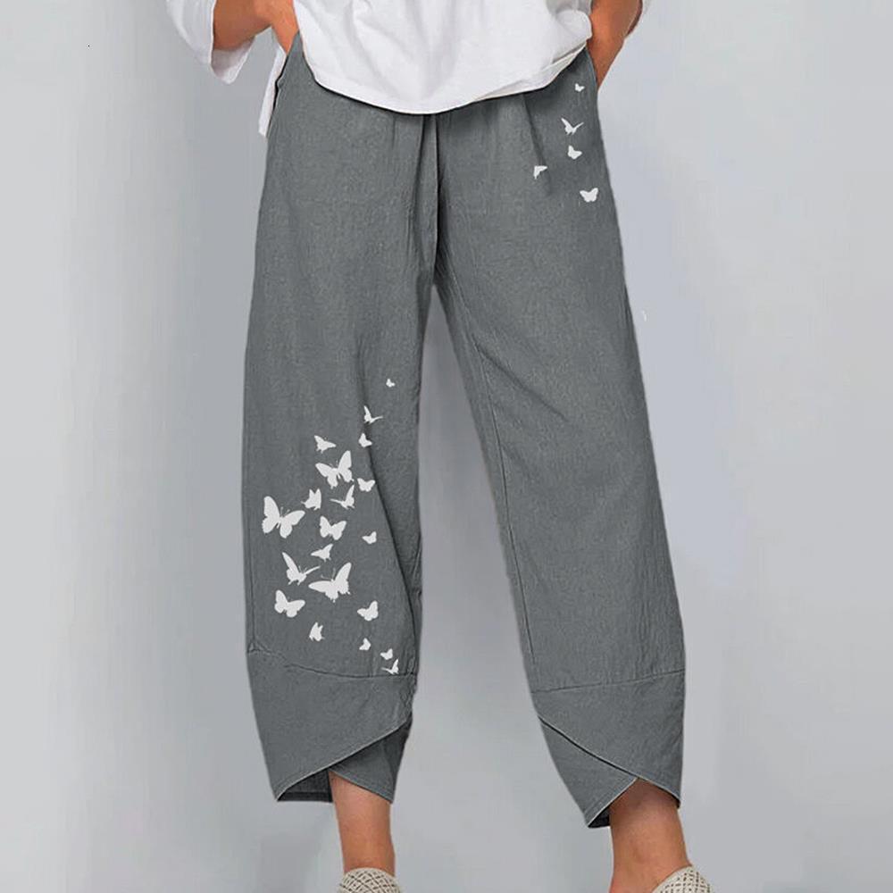 Pantalon à jambe largeur imprimé gris et décontracté de coton et de draps
