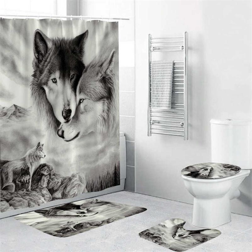 180x180см 1 шт. / 3шт / 4шт белый волк сновидение улавливает волчьи глаза с 12 крючками ванная комната для ванной комнаты занавески для душа туалет коврик крышка крылья занавес наборы LJ201128