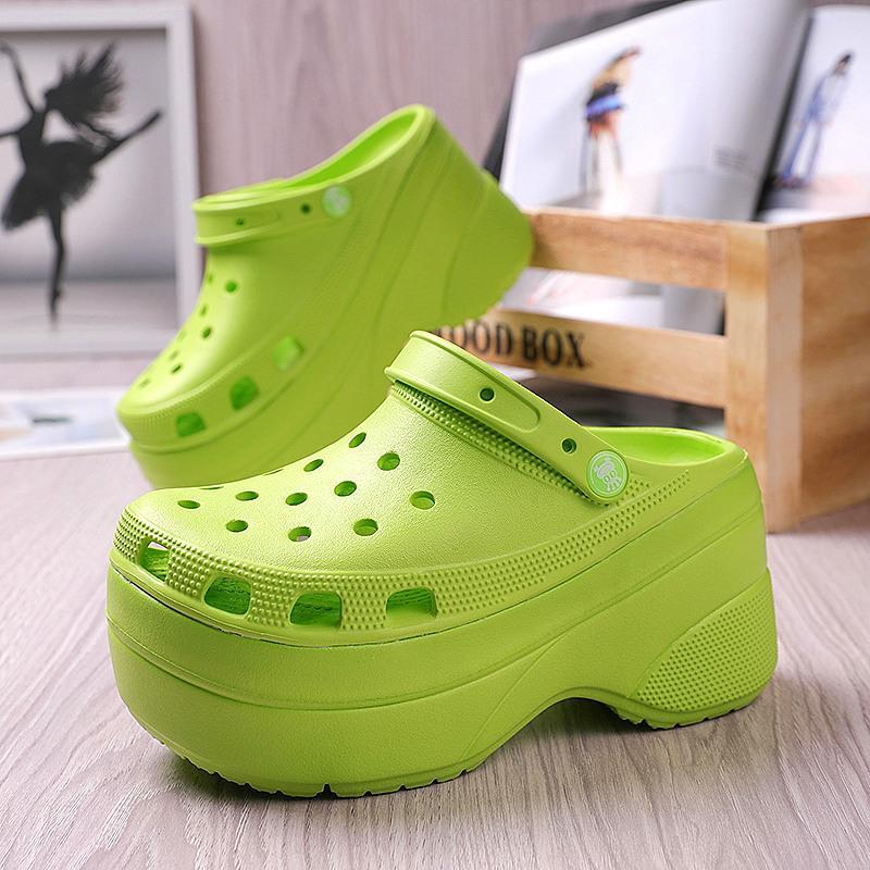 Летняя зеленая платформа Высокие каблуки Сандалии нескользящихся клиней Обувь для женщин 10 см Увеличение мода садовые садовые сандалии
