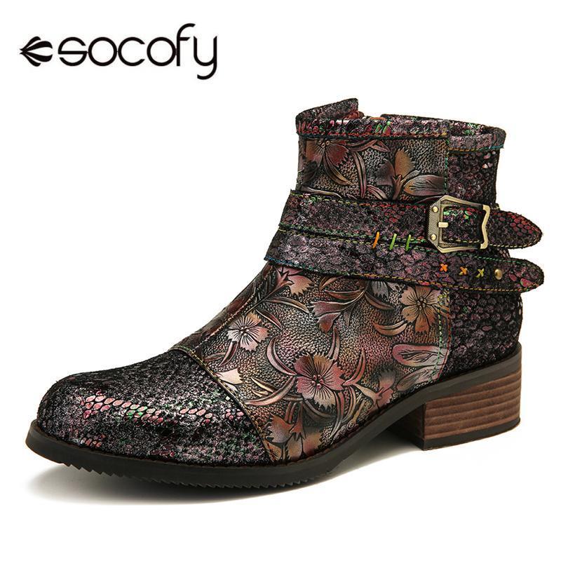 Botas SOCOFY SNAKE PRINT PULSAS Costuras en relieve Hebilla de metal Cremallera Zapatos de tobillo de cuero genuino elegante