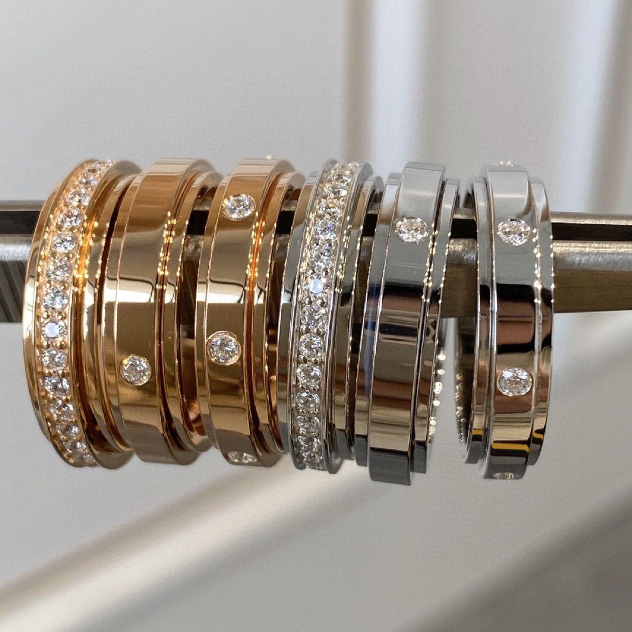 Rotatable Ring V banhado a ouro 20k rosa textura de ouro puro cinco eixos cnc esculpido um diamante sem diamante sete casal de diamante