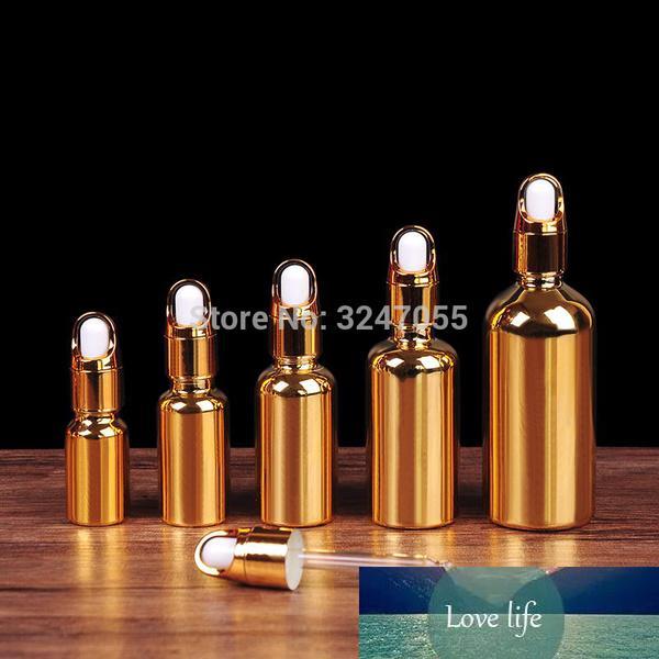20 adet / grup 10 ml20ml30ml50ml100ml sepet kapak uçucu yağ şişesi, cam altın boş damlalık konteyner, taşınabilir kadın makyaj aracı