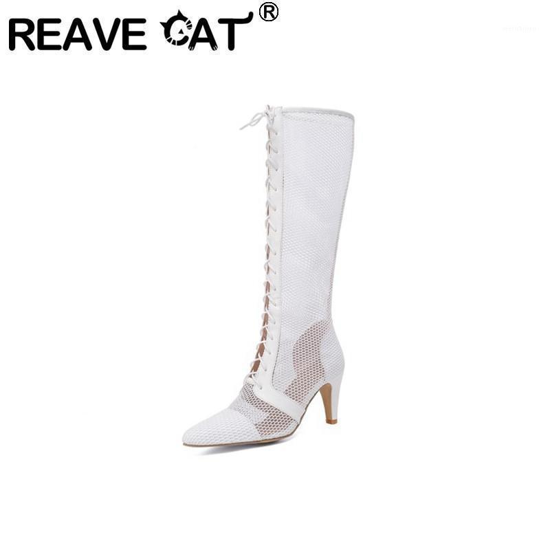 Reape Cat Mesdames Boots Bottes de genou 2021 Pointe Toe 8,5 cm Spike Talons à lacets Sexy Mesh Sous respirable Big Taille 32-47 Été C22311