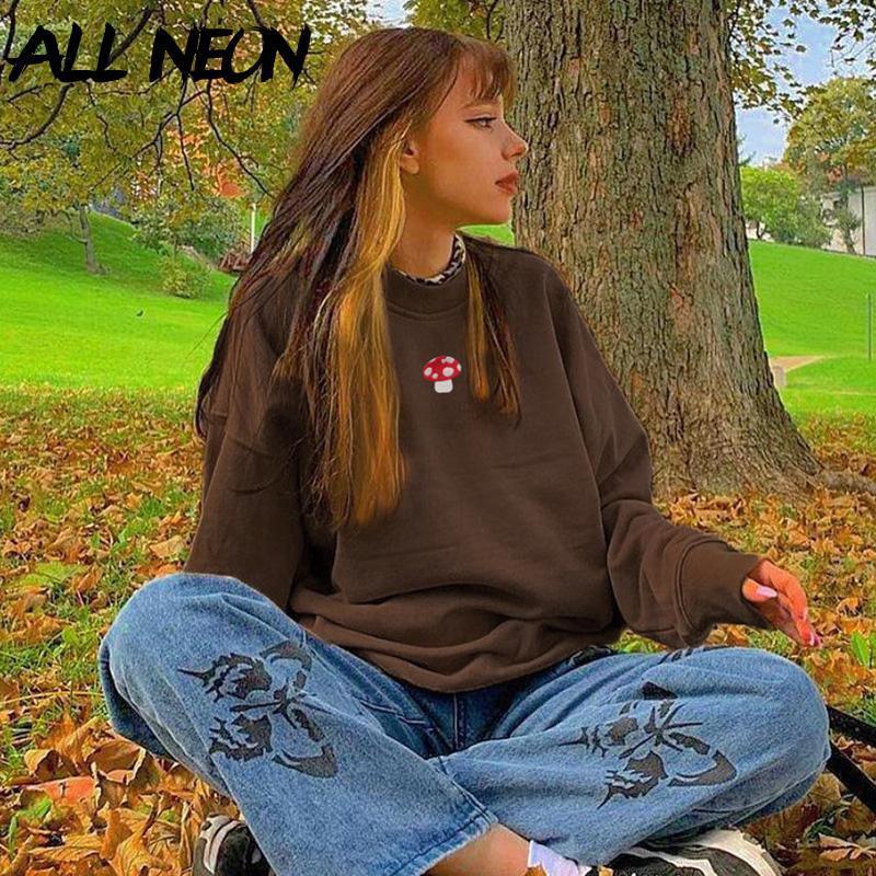 Y2K Estetica Felpa con cappuccio Felpa con cappuccio da ricamo Felpe Oversize Vintage Brown Crewneck Manica lunga Top 2000s Fashion Streetwear