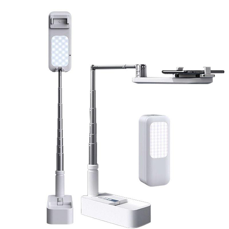Selfie ملء ضوء 360 درجة الدورية قابل للتعديل حامل الهاتف حامل مع قابلة للشحن اللاسلكية عكس الضوء الصمام مصباح selfie ضوء
