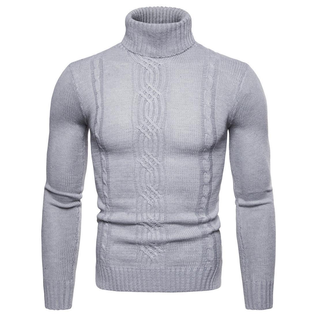 Pull à col roulé en laine Pull à col roulé en laine pour hommes Automne Printemps Hiver Pull épais Gris clair Gris foncé Noir Khaki Pulls