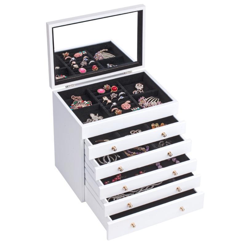Белые большие деревянные ювелирные изделия коробка организатор бархатные кольца серьги браслет хранения коричневый дисплей упаковки зеркало старинные корпус подарки