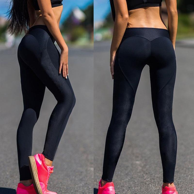 Leggins di yoga di modo Donne traspiranti Elastico Elastico Leggins Elastico Leggins Allenamento Stretch Push Up Pantaloni da fitness senza cuciture a vita alta