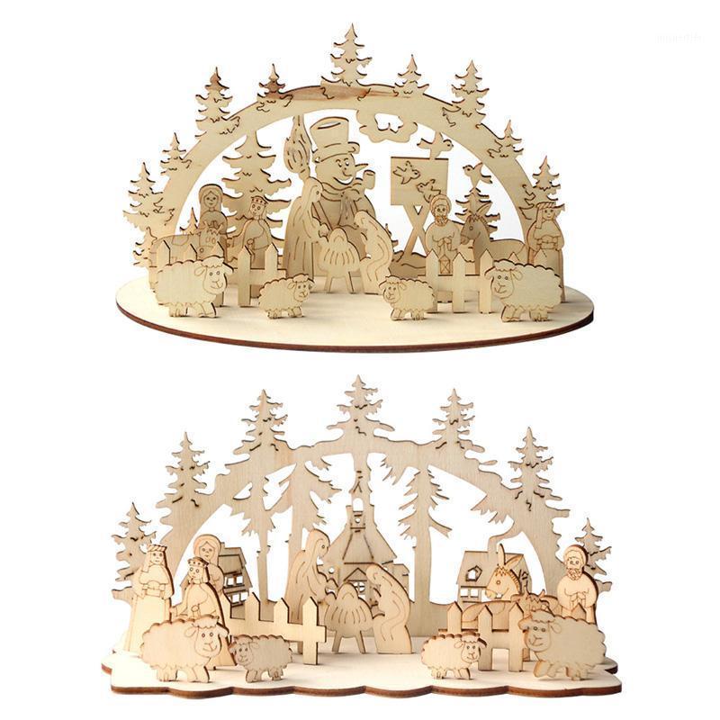 1 Сет Рождество DIY Стол деревянный орнамент снеговик церковь 2020 Новый год Рождественские украшения для дома Navidad Noel Xmas Sacys1