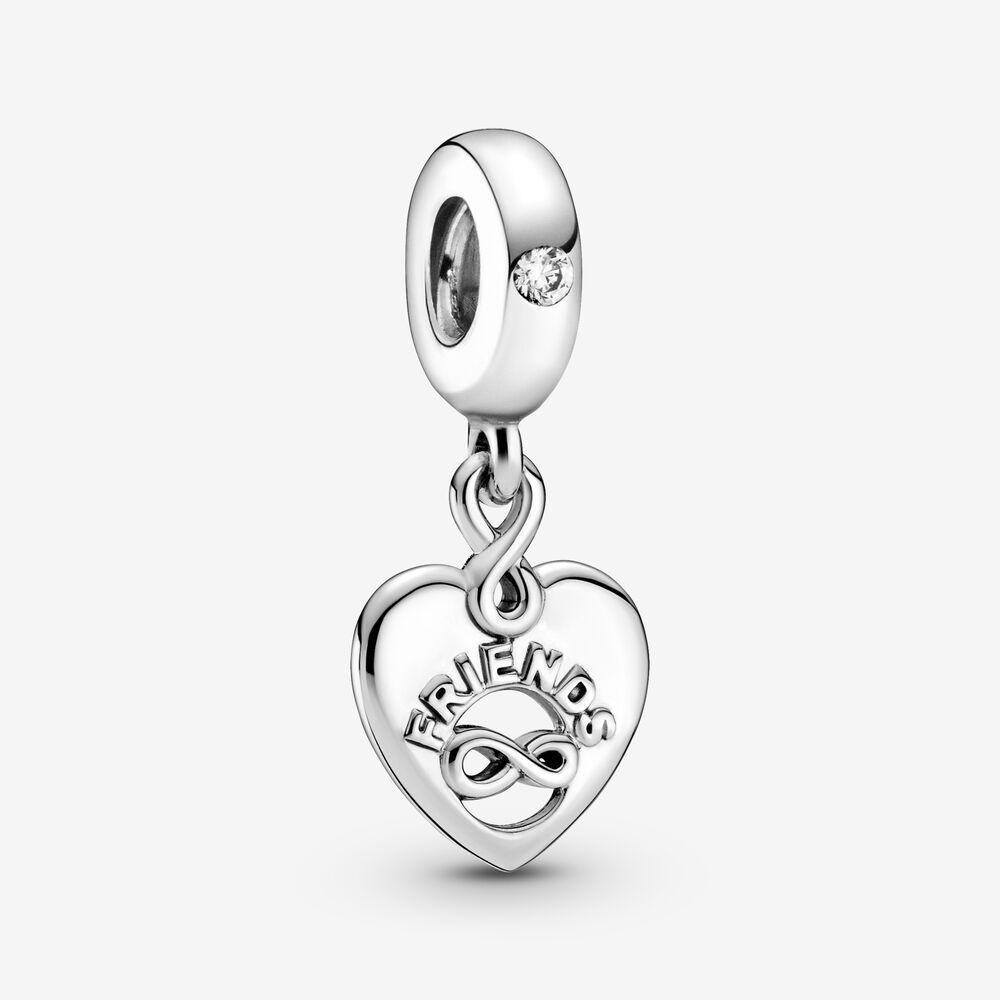 100% 925 sterling argento frizzante amici per sempre cuore ciondolare charms fit originale orologio europeo braccialetto di fascino moda donne accessori gioielli fai da te