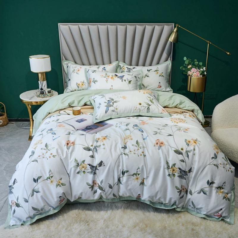 Голубой цветок печатает пастырские постельные принадлежности 100% египетские хлопчатобумажные постельное белье с цветочным пододеемкой крышка королевы king-size Hometexitle