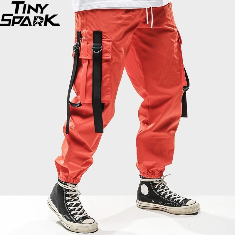 Harajuku pantalón joggers hombres cadera cadera cargamento pantalones bolsillos botones cinta sujecible streetwear primavera verano pista pantalones hipster y201123