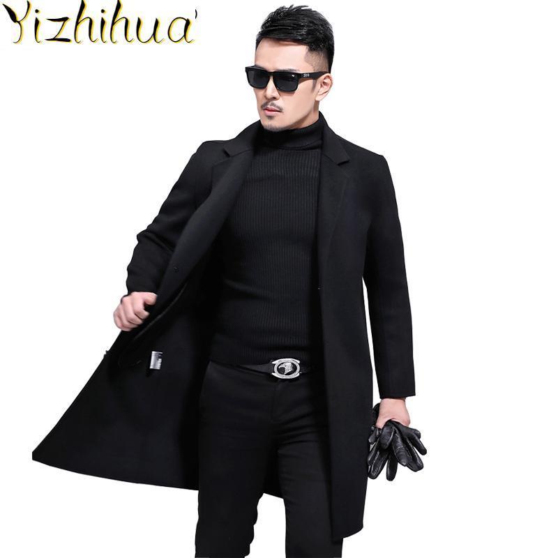 Azazel Autumn Winter 2020 New 200%Wool Coat Men Korean Fashion Slim Overcoat Long Cashmere Coats Casaco Masculino 8835 ZL395