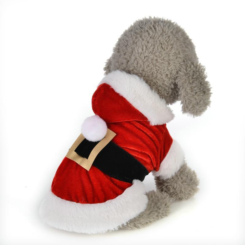 Одежда для собак Рождественская одежда для маленьких собак костюм для домашних животных Санта зима капюшона пальто куртки щенок одежда чихуахуа йорки наряд