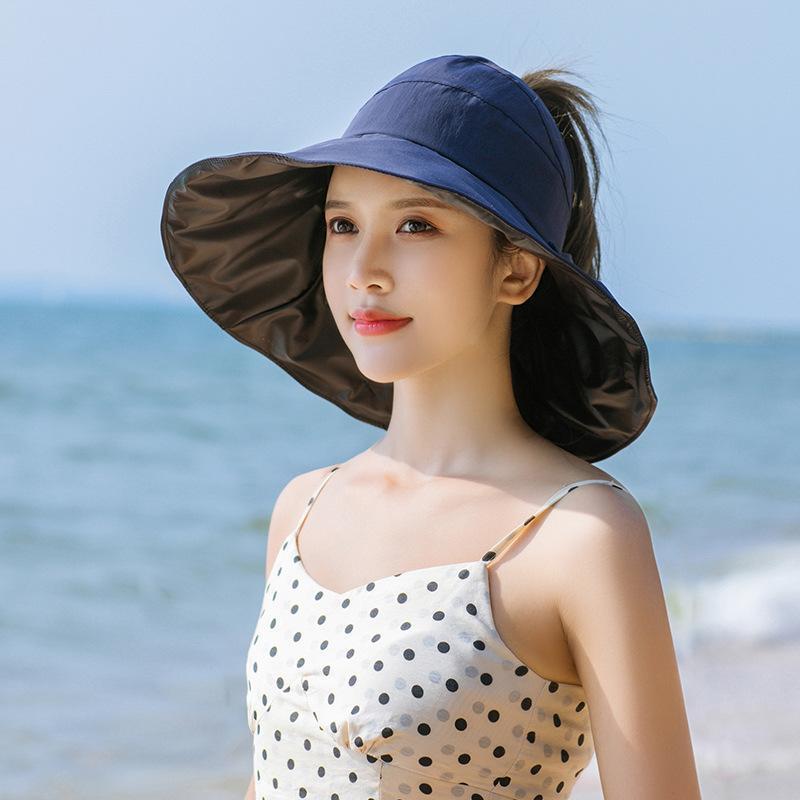 Moda Seaside Sol Visor Chapéu Verão Verão Chapéus Para As Mulheres Grandes Beata Beata Dobrável Praia Meninas