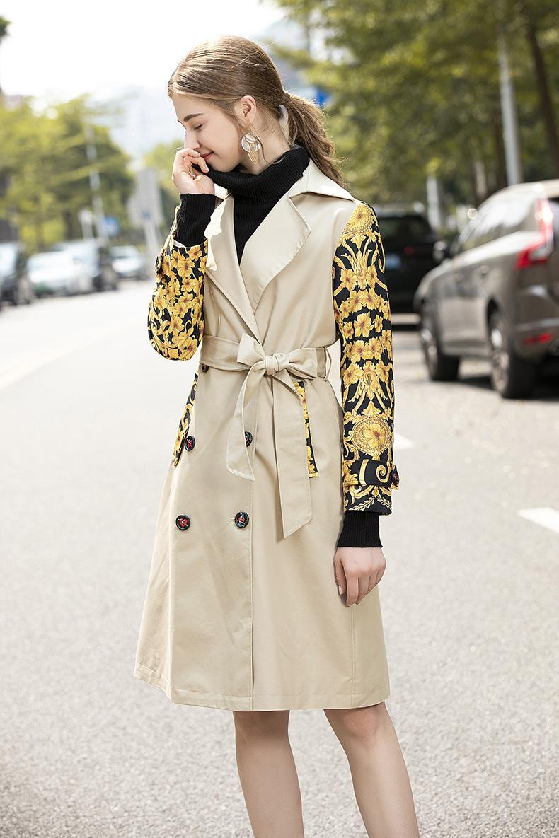 801 2020 가을 무료 배송 코트 패션 여성 트렌치 코트 옷깃 목 Khaki 긴 소매 편지 Womens 의류 JQ