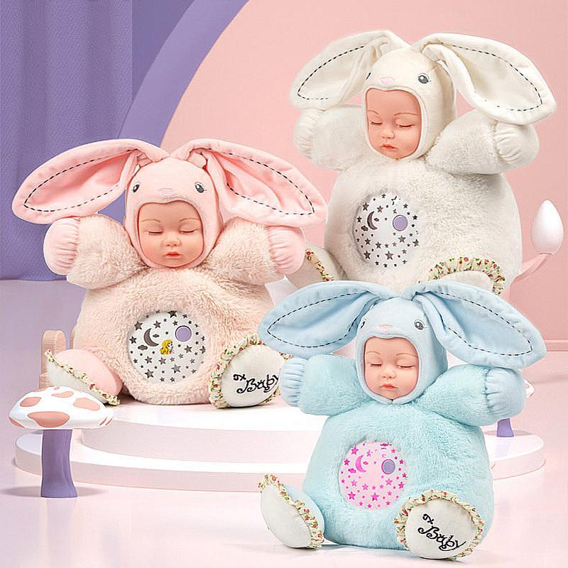25CM Lullaby Sound Light Plush Dolls Infant Sleepy Toys Sleep Reborn Baby Rabbit Instrument Silicone Puzzle Luminous Gift Toys F1211