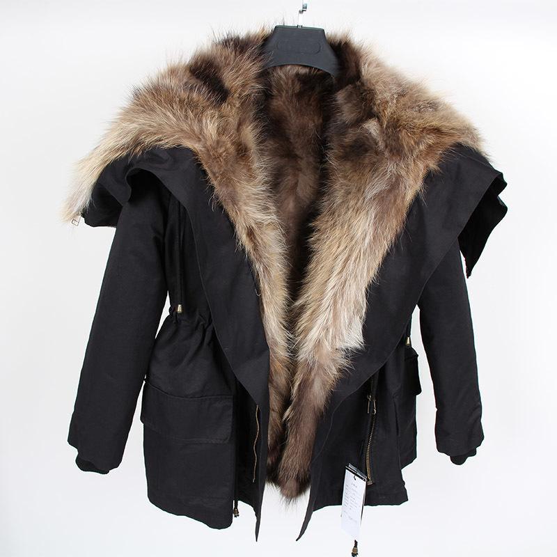 Маамаоконг Новая зимняя мода роскошный кролик пальто большой енотный мех с капюшоном Parka бомбардировщик женская куртка