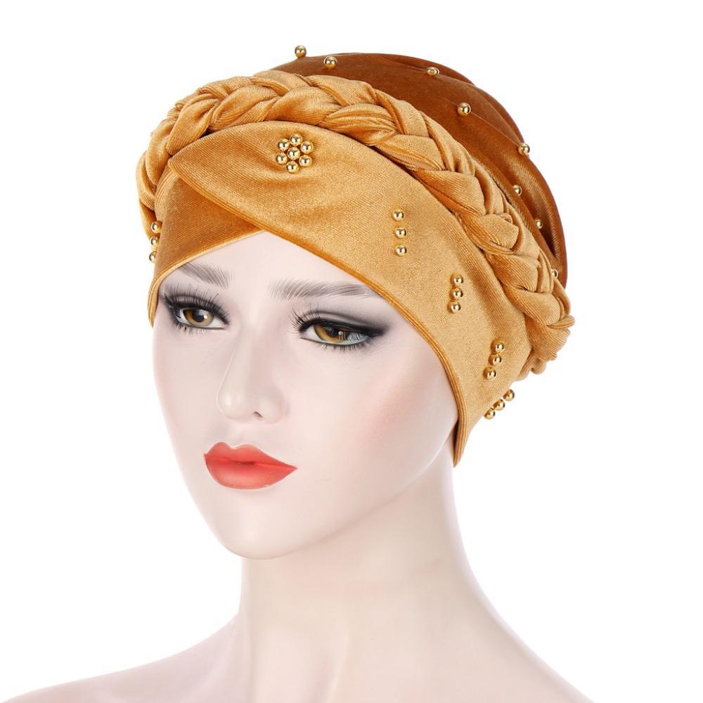 2021 бархатные мусульманские женщины внутренние колпачки для Hijab India Wrap Head Turban Bonnet с бисером сплошной цвет Hijab подчеркивает колпаки Turbante