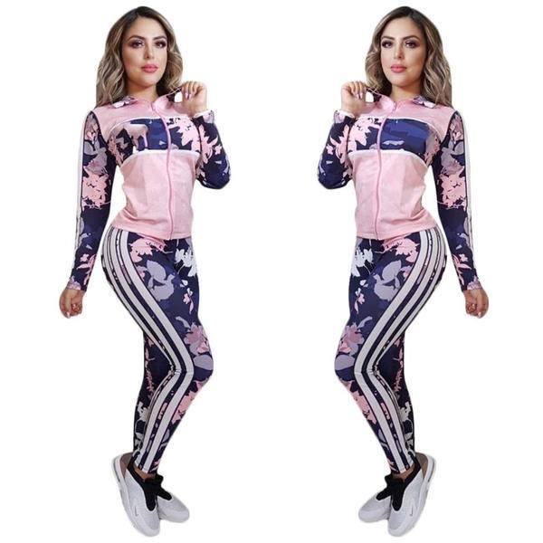 Femme Active TrackSuits Modèle de fleurs de mode avec des tenues à rayures 2020 Jambières de veste d'automne pour la vente en gros Set de 2 pièces