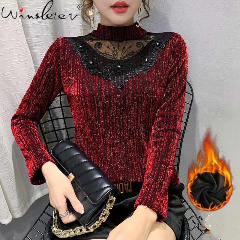 T-shirt in stile coreano inverno moda sexy lucido maglia patchwork dimonds ricamo donne tops ropa mujer con vello tees T00309A A1113