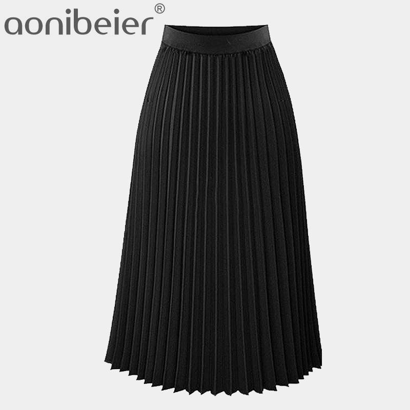 Aoniber Fashion Femenina Alta Cintura Alta Plisada Color Sólido Longitud Elástica Promociones Dama Black Pink Fiesta Faldas Casuales J0118